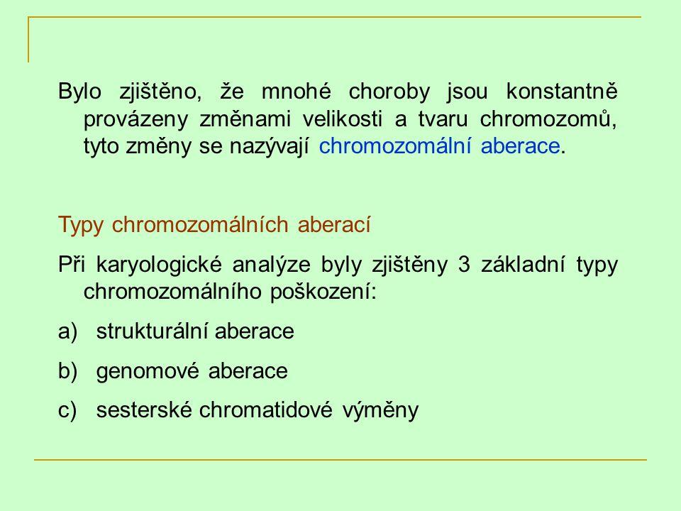 Bylo zjištěno, že mnohé choroby jsou konstantně provázeny změnami velikosti a tvaru chromozomů, tyto změny se nazývají chromozomální aberace. Typy chr