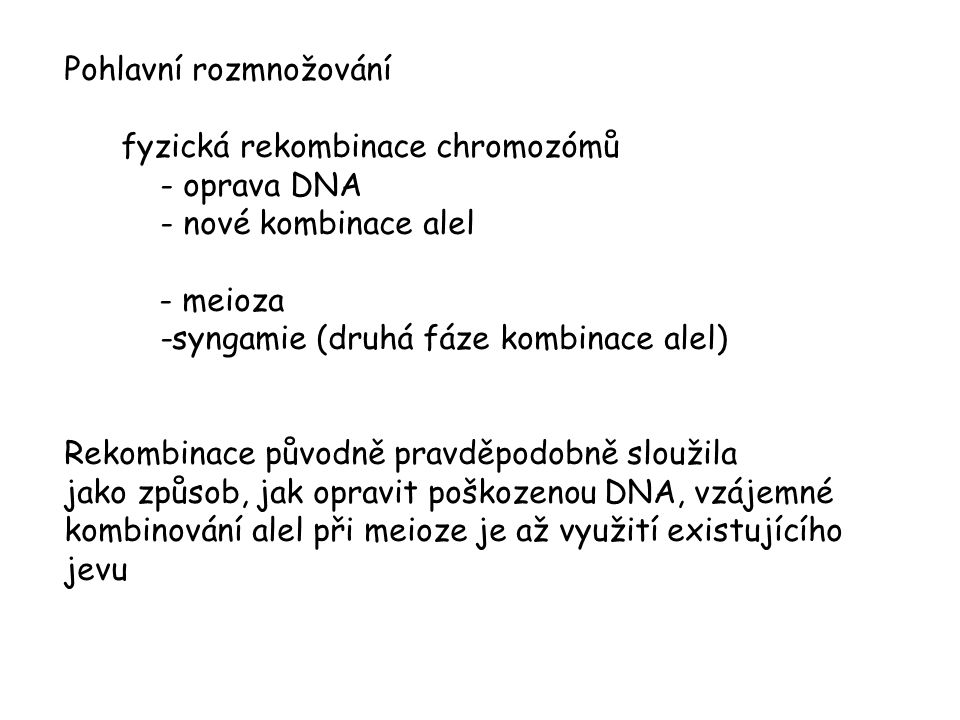 Pohlavní rozmnožování fyzická rekombinace chromozómů - oprava DNA - nové kombinace alel - meioza -syngamie (druhá fáze kombinace alel) Rekombinace pův