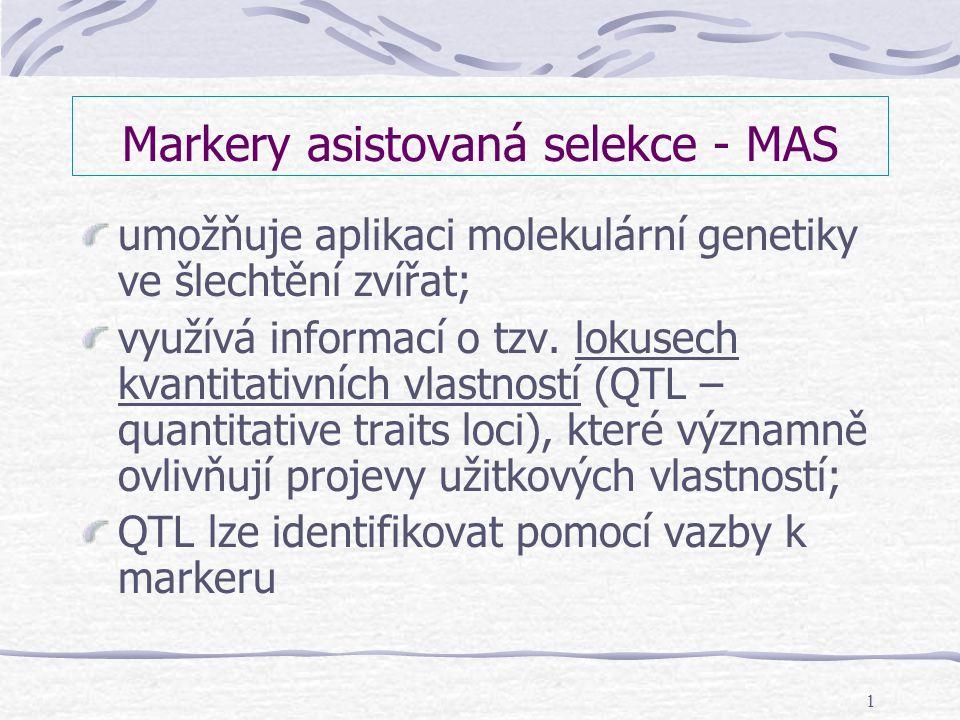1 Markery asistovaná selekce - MAS umožňuje aplikaci molekulární genetiky ve šlechtění zvířat; využívá informací o tzv. lokusech kvantitativních vlast