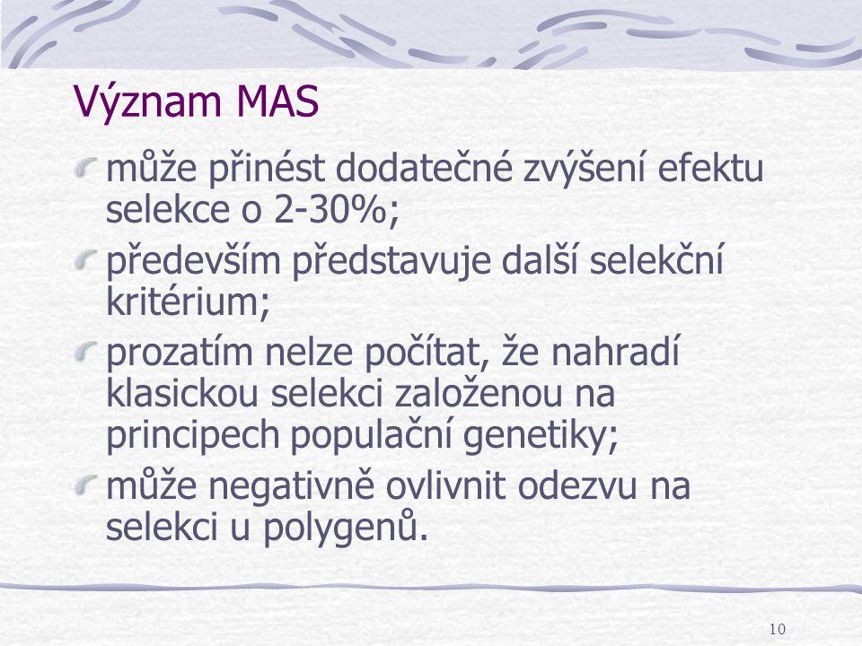 10 Význam MAS může přinést dodatečné zvýšení efektu selekce o 2-30%; především představuje další selekční kritérium; prozatím nelze počítat, že nahrad