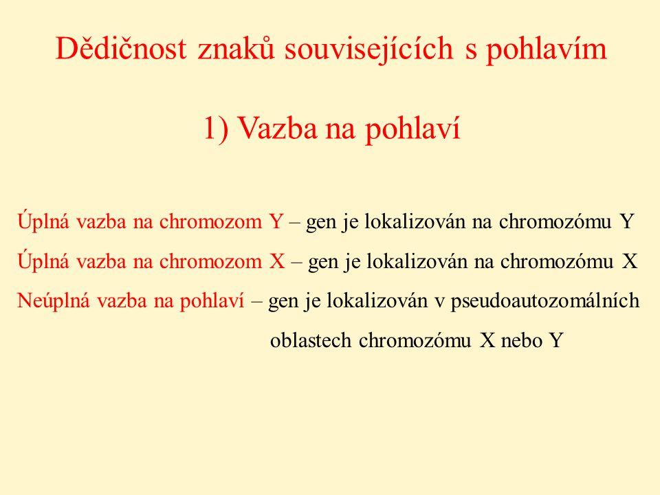 Dědičnost znaků souvisejících s pohlavím 1) Vazba na pohlaví Úplná vazba na chromozom Y – gen je lokalizován na chromozómu Y Úplná vazba na chromozom