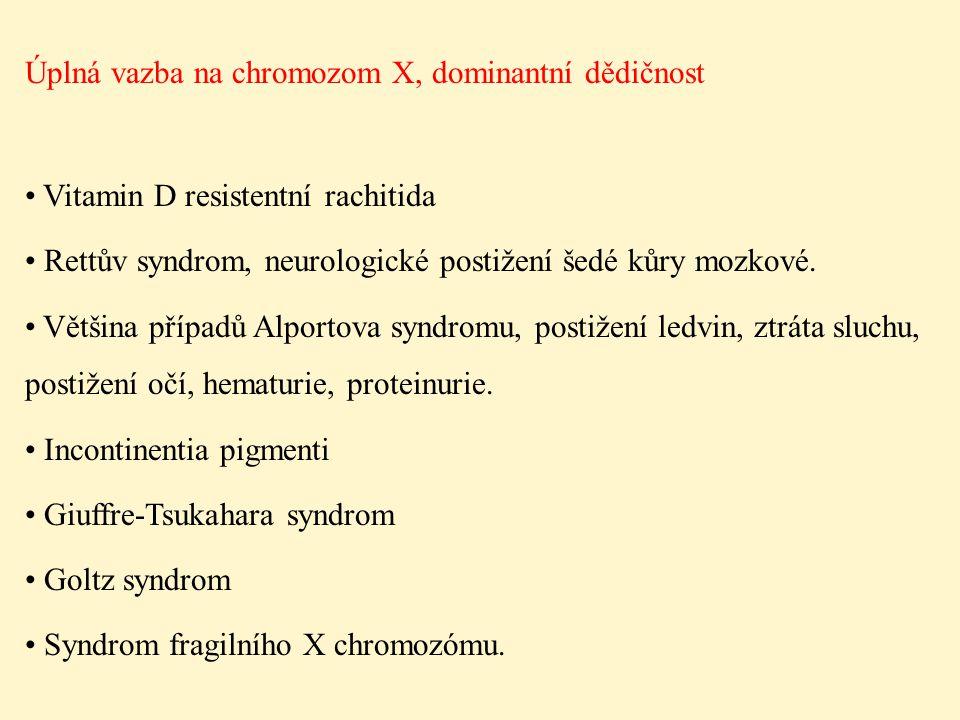 Úplná vazba na chromozom X, dominantní dědičnost Vitamin D resistentní rachitida Rettův syndrom, neurologické postižení šedé kůry mozkové. Většina pří