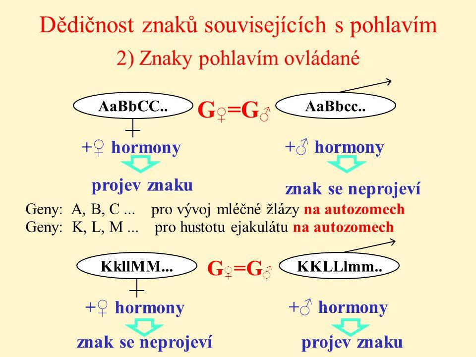 2) Znaky pohlavím ovládané Dědičnost znaků souvisejících s pohlavím +♀ hormony AaBbcc.. G ♀ =G ♂ AaBbCC.. +♂ hormony projev znaku znak se neprojeví +♀