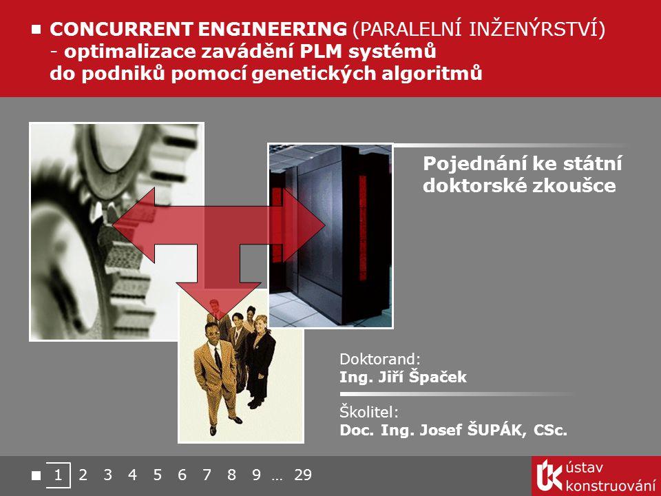 CONCURRENT ENGINEERING (PARALELNÍ INŽENÝRSTVÍ) - optimalizace zavádění PLM systémů do podniků pomocí genetických algoritmů Doktorand: Ing. Jiří Špaček