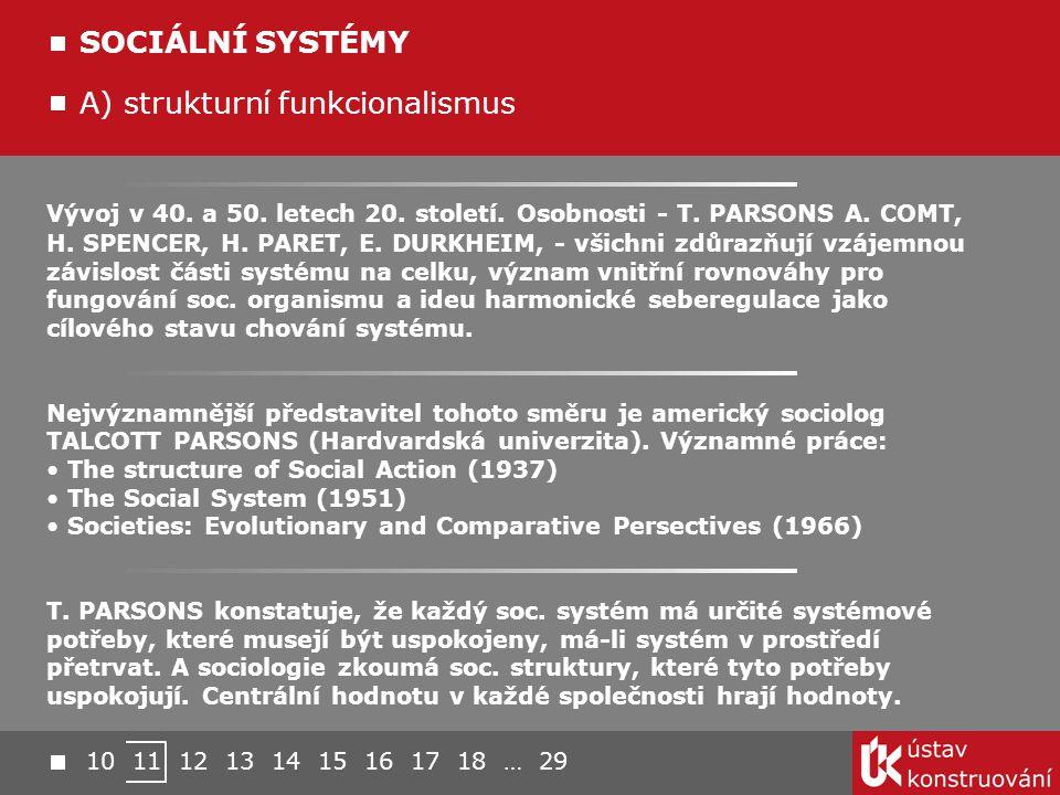 Vývoj v 40. a 50. letech 20. století. Osobnosti - T. PARSONS A. COMT, H. SPENCER, H. PARET, E. DURKHEIM, - všichni zdůrazňují vzájemnou závislost část
