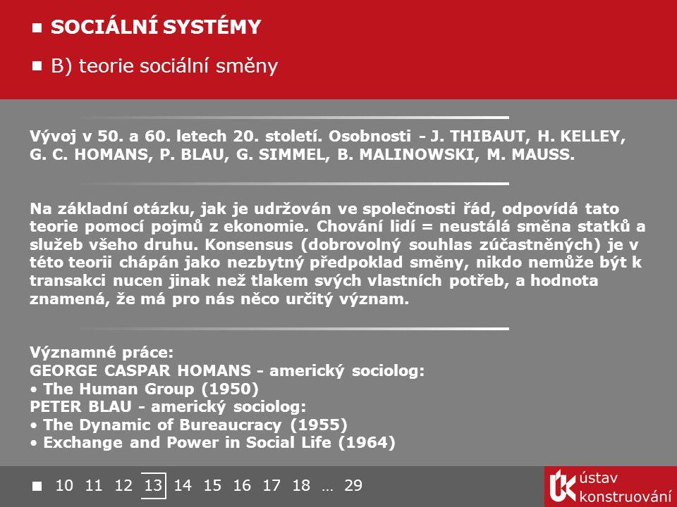 Vývoj v 50. a 60. letech 20. století. Osobnosti - J. THIBAUT, H. KELLEY, G. C. HOMANS, P. BLAU, G. SIMMEL, B. MALINOWSKI, M. MAUSS. Na základní otázku