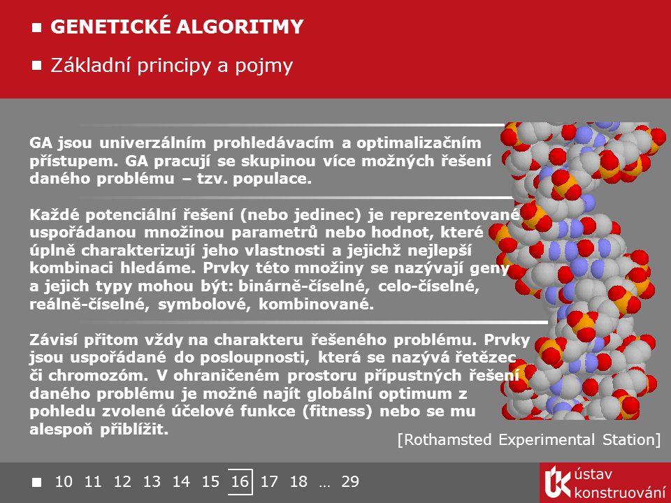 Základní principy a pojmy GENETICKÉ ALGORITMY [Rothamsted Experimental Station] GA jsou univerzálním prohledávacím a optimalizačním přístupem. GA prac