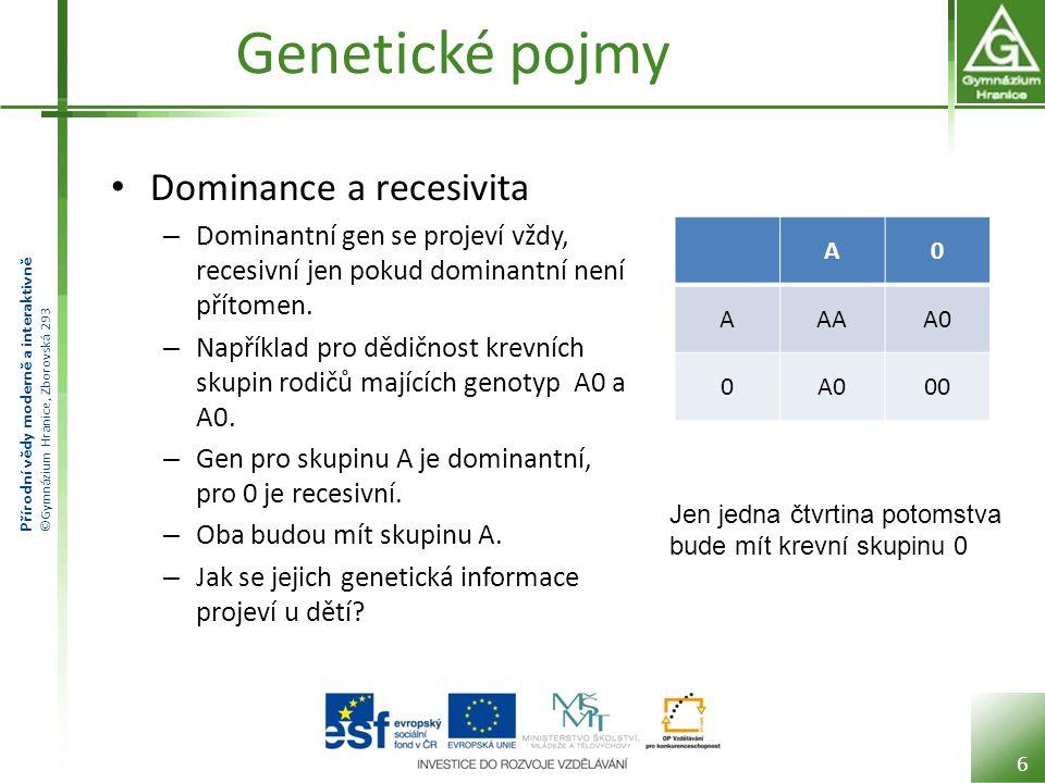 Přírodní vědy moderně a interaktivně ©Gymnázium Hranice, Zborovská 293 Genetické pojmy Dominance a recesivita – Dominantní gen se projeví vždy, recesivní jen pokud dominantní není přítomen.