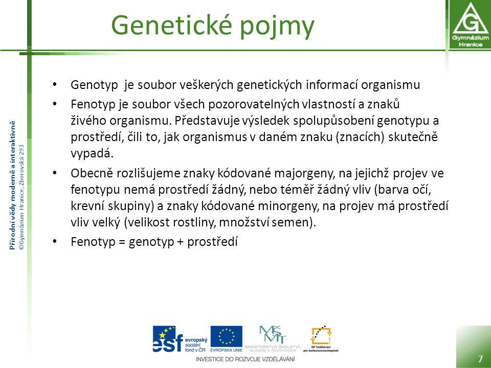 Přírodní vědy moderně a interaktivně ©Gymnázium Hranice, Zborovská 293 Genetické pojmy Genotyp je soubor veškerých genetických informací organismu Fenotyp je soubor všech pozorovatelných vlastností a znaků živého organismu.