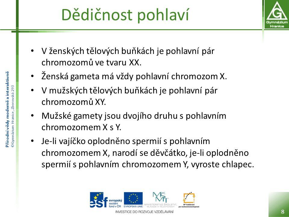 Přírodní vědy moderně a interaktivně ©Gymnázium Hranice, Zborovská 293 Dědičnost pohlaví V ženských tělových buňkách je pohlavní pár chromozomů ve tvaru XX.
