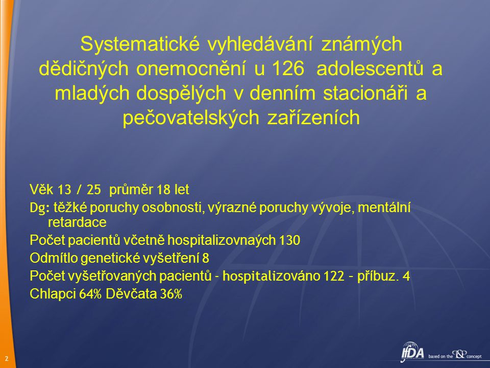 3 Průměrný věk při prvním psychiatrickém vyšetření : 3 roky 5 m ěsíců Průměrný věk při diagnóze dědičného onemocnění 19 let Průměrná doba mezi prvním vyšetřením u klinického genetika a stanovením diagnózy  8 měsíců ( od okamžitě až do 9 let …) VÝSLEDKY : Stanovení dědičného onemocnění : 28 tj.