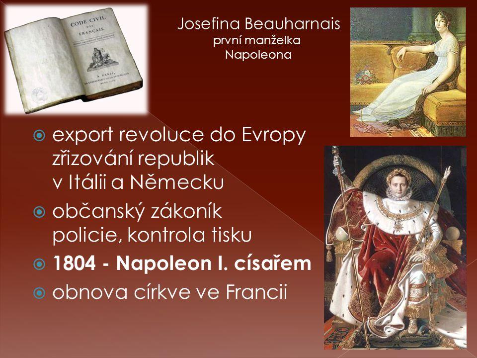  export revoluce do Evropy zřizování republik v Itálii a Německu  občanský zákoník policie, kontrola tisku  1804 - Napoleon I.