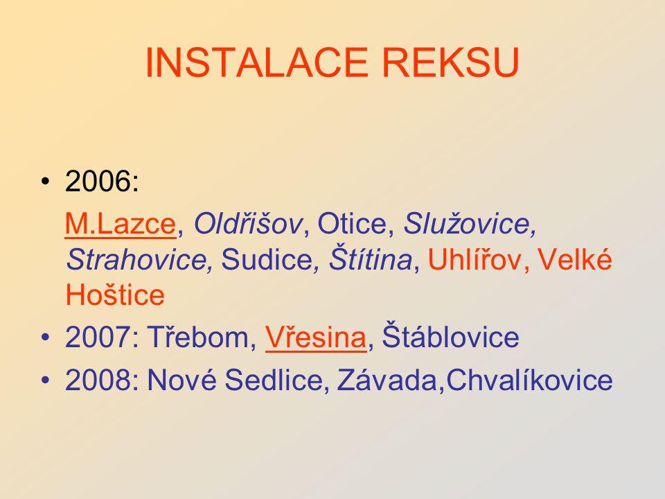 INSTALACE REKSU 2006: M.Lazce, Oldřišov, Otice, Služovice, Strahovice, Sudice, Štítina, Uhlířov, Velké Hoštice 2007: Třebom, Vřesina, Štáblovice 2008: Nové Sedlice, Závada,Chvalíkovice