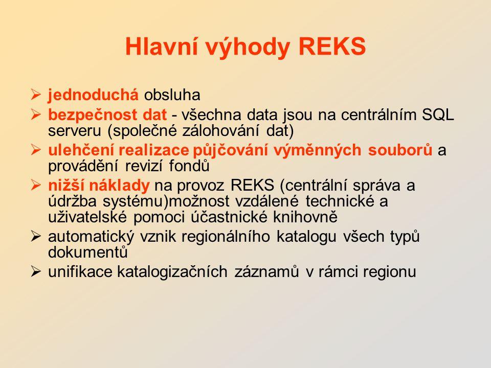 Hlavní výhody REKS  jednoduchá obsluha  bezpečnost dat - všechna data jsou na centrálním SQL serveru (společné zálohování dat)  ulehčení realizace půjčování výměnných souborů a provádění revizí fondů  nižší náklady na provoz REKS (centrální správa a údržba systému)možnost vzdálené technické a uživatelské pomoci účastnické knihovně  automatický vznik regionálního katalogu všech typů dokumentů  unifikace katalogizačních záznamů v rámci regionu