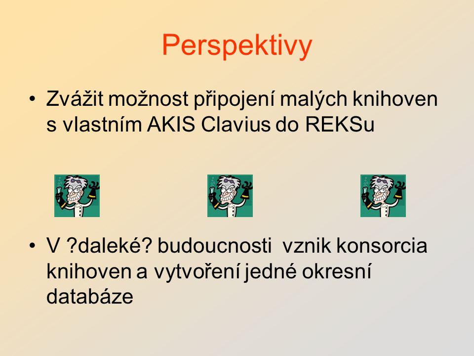 Perspektivy Zvážit možnost připojení malých knihoven s vlastním AKIS Clavius do REKSu V daleké.