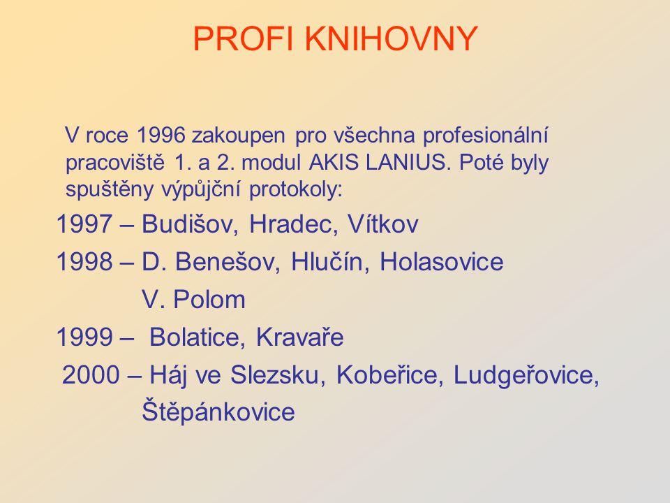 PROFI KNIHOVNY V roce 1996 zakoupen pro všechna profesionální pracoviště 1.