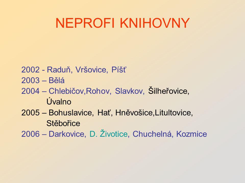 NEPROFI KNIHOVNY 2002 - Raduň, Vršovice, Píšť 2003 – Bělá 2004 – Chlebičov,Rohov, Slavkov, Šilheřovice, Úvalno 2005 – Bohuslavice, Hať, Hněvošice,Litultovice, Stěbořice 2006 – Darkovice, D.