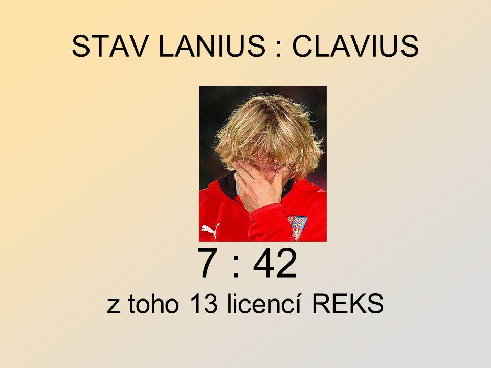 STAV LANIUS : CLAVIUS 7 : 42 z toho 13 licencí REKS