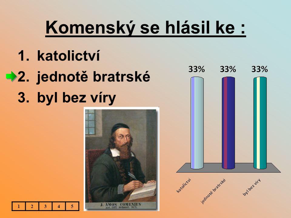 Komenský se hlásil ke : 1.katolictví 2.jednotě bratrské 3.byl bez víry 12345