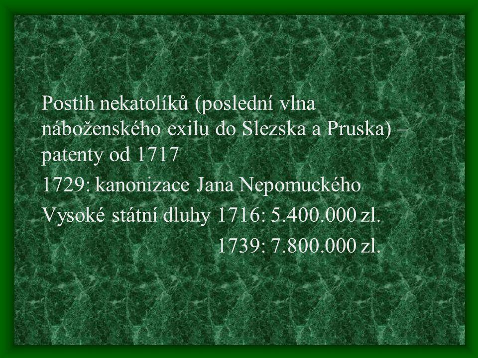 Postih nekatolíků (poslední vlna náboženského exilu do Slezska a Pruska) – patenty od 1717 1729: kanonizace Jana Nepomuckého Vysoké státní dluhy 1716: