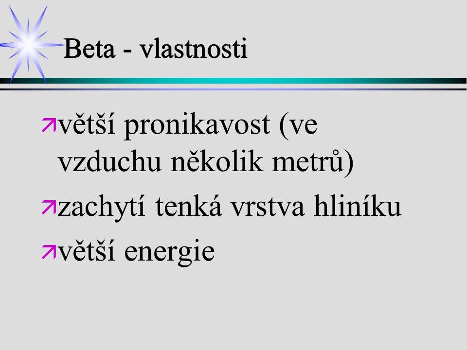 Beta - vlastnosti ä ä větší pronikavost (ve vzduchu několik metrů) ä ä zachytí tenká vrstva hliníku ä ä větší energie