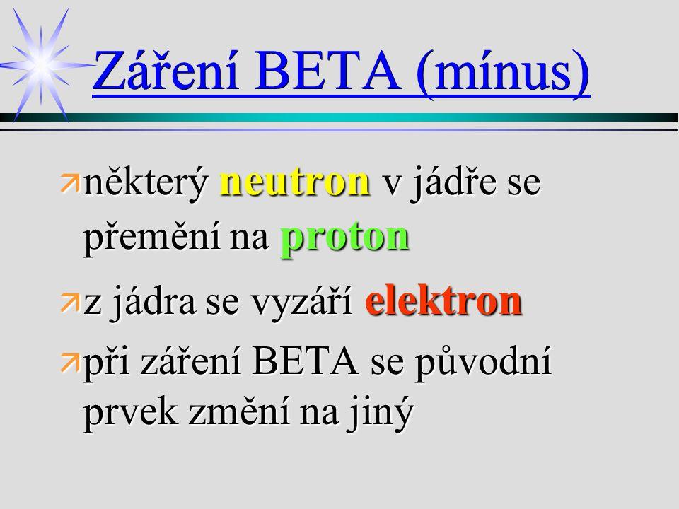 Záření BETA (mínus) ä některý neutron v jádře se přemění na proton ä z jádra se vyzáří elektron ä při záření BETA se původní prvek změní na jiný