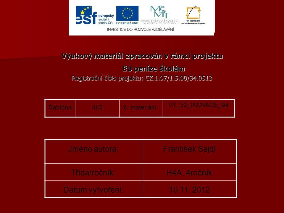 Výukový materiál zpracován v rámci projektu EU peníze školám EU peníze školám Registrační číslo projektu: CZ.1.07/1.5.00/34.0513 ŠablonaIII/2č.