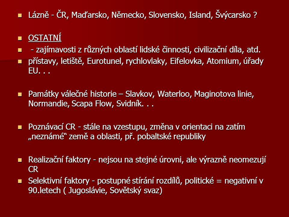 Lázně - ČR, Maďarsko, Německo, Slovensko, Island, Švýcarsko .