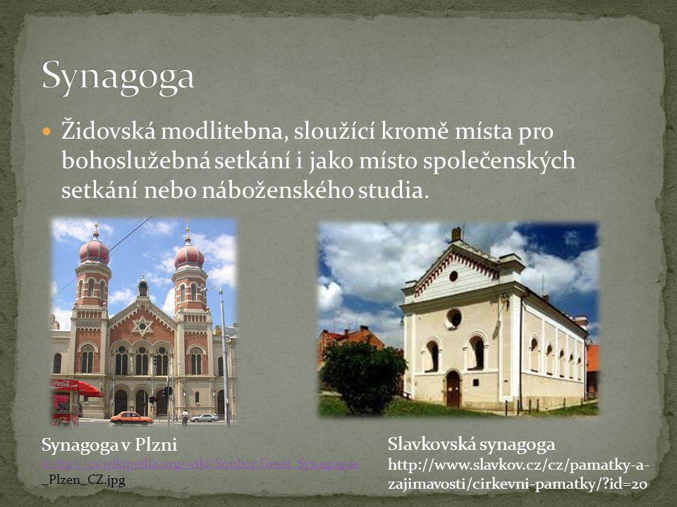 Židovská modlitebna, sloužící kromě místa pro bohoslužebná setkání i jako místo společenských setkání nebo náboženského studia. Synagoga v Plzni h ttp