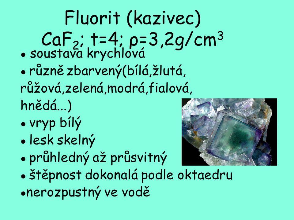 Fluorit (kazivec) CaF 2 ; t=4; ρ=3,2g/cm 3 ● soustava krychlová ● různě zbarvený(bílá,žlutá, růžová,zelená,modrá,fialová, hnědá...) ● vryp bílý ● lesk skelný ● průhledný až průsvitný ● štěpnost dokonalá podle oktaedru ● nerozpustný ve vodě