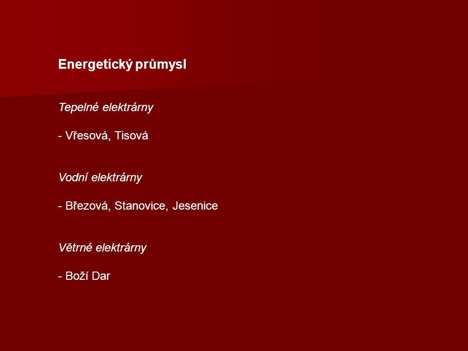 Energetický průmysl Tepelné elektrárny - Vřesová, Tisová Vodní elektrárny - Březová, Stanovice, Jesenice Větrné elektrárny - Boží Dar