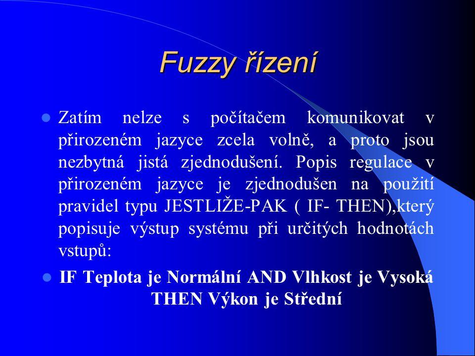 Fuzzy řízení Zatím nelze s počítačem komunikovat v přirozeném jazyce zcela volně, a proto jsou nezbytná jistá zjednodušení. Popis regulace v přirozené
