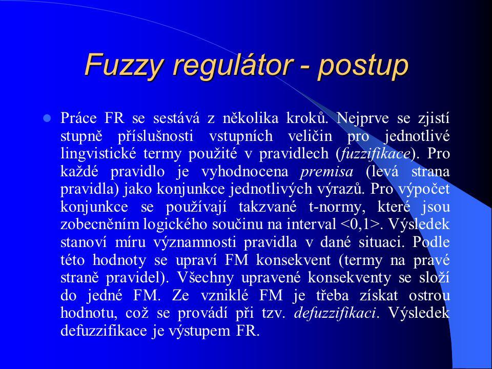 Fuzzy regulátor - postup Práce FR se sestává z několika kroků. Nejprve se zjistí stupně příslušnosti vstupních veličin pro jednotlivé lingvistické ter