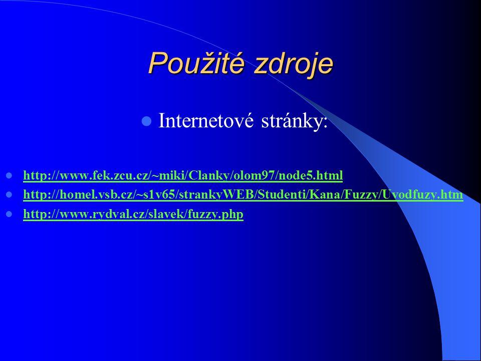 Použité zdroje Internetové stránky: http://www.fek.zcu.cz/~miki/Clanky/olom97/node5.html http://homel.vsb.cz/~s1v65/strankyWEB/Studenti/Kana/Fuzzy/Uvodfuzy.htm http://www.rydval.cz/slavek/fuzzy.php