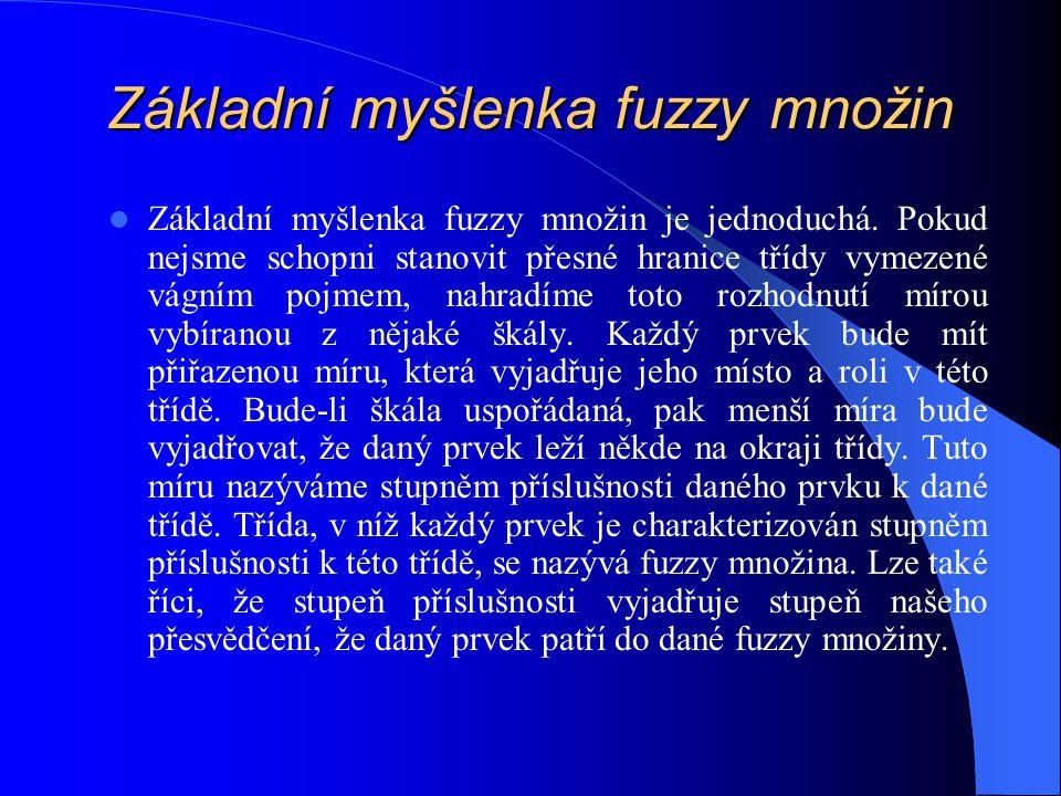 Základní myšlenka fuzzy množin Základní myšlenka fuzzy množin je jednoduchá. Pokud nejsme schopni stanovit přesné hranice třídy vymezené vágním pojmem