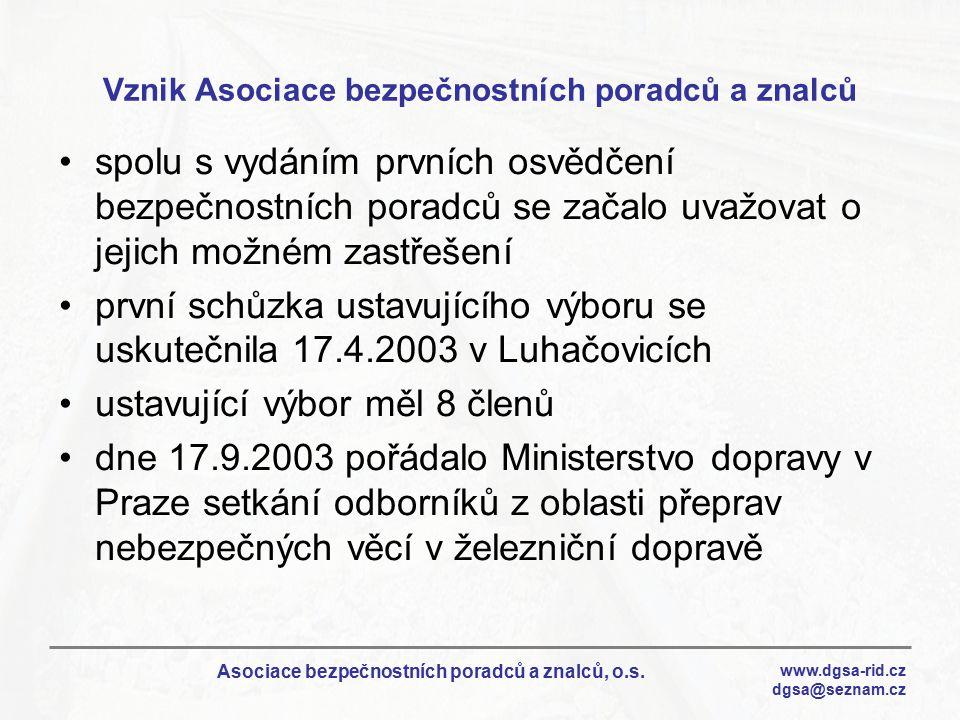 www.dgsa-rid.cz dgsa@seznam.cz Asociace bezpečnostních poradců a znalců, o.s. Vznik Asociace bezpečnostních poradců a znalců spolu s vydáním prvních o