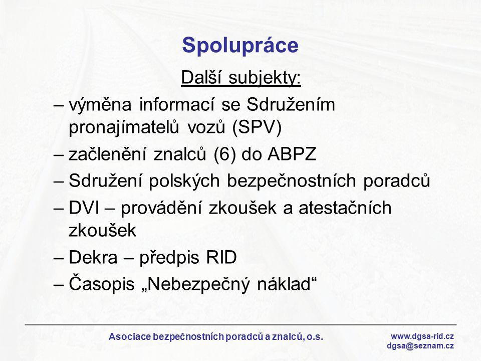 www.dgsa-rid.cz dgsa@seznam.cz Asociace bezpečnostních poradců a znalců, o.s. Spolupráce Další subjekty: –výměna informací se Sdružením pronajímatelů
