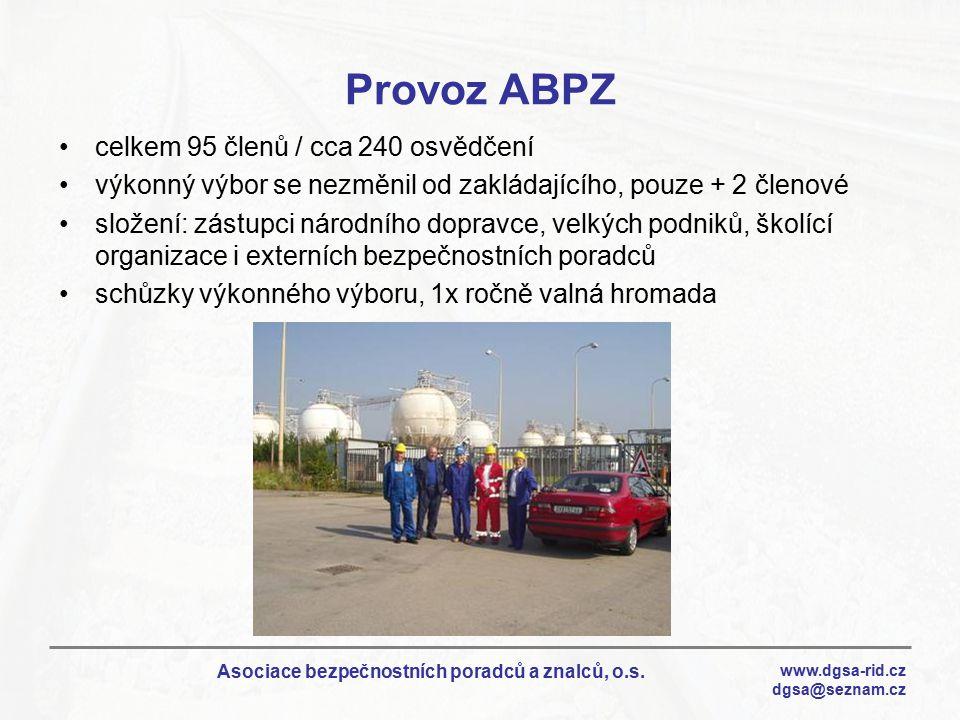 www.dgsa-rid.cz dgsa@seznam.cz Asociace bezpečnostních poradců a znalců, o.s. Provoz ABPZ celkem 95 členů / cca 240 osvědčení výkonný výbor se nezměni