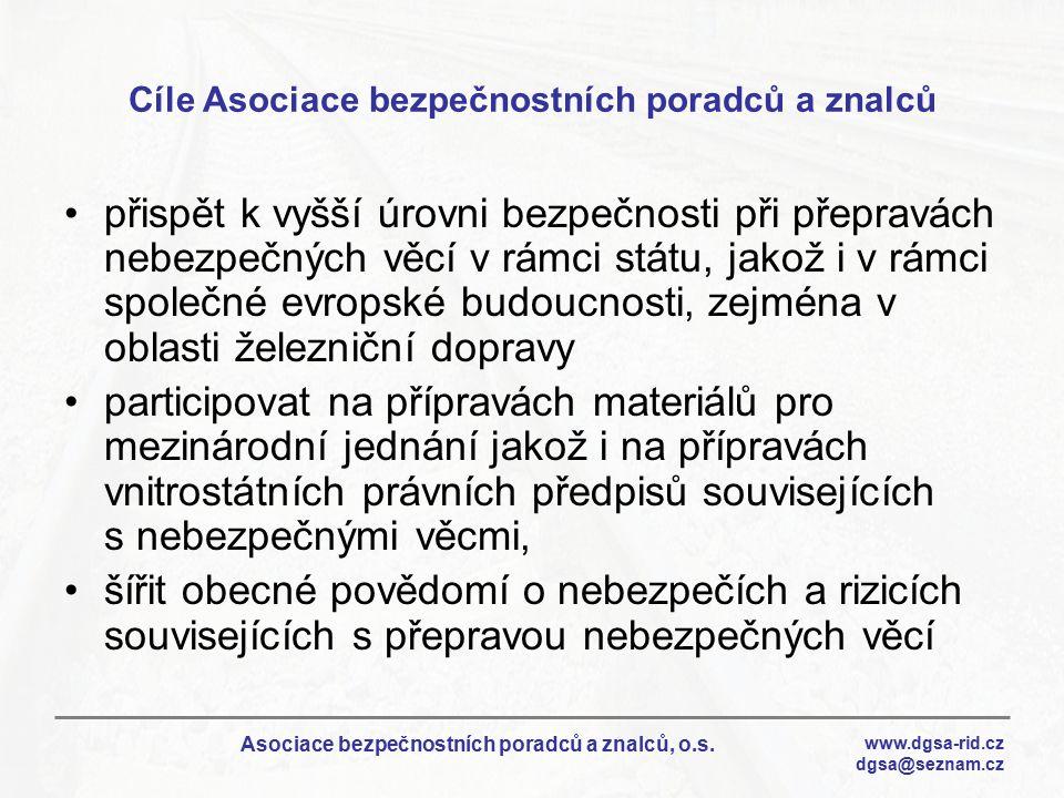 www.dgsa-rid.cz dgsa@seznam.cz Asociace bezpečnostních poradců a znalců, o.s. Cíle Asociace bezpečnostních poradců a znalců přispět k vyšší úrovni bez