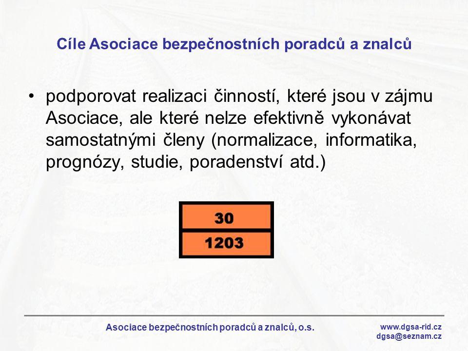 www.dgsa-rid.cz dgsa@seznam.cz Asociace bezpečnostních poradců a znalců, o.s. Cíle Asociace bezpečnostních poradců a znalců podporovat realizaci činno