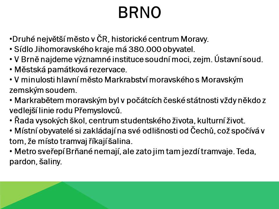 BRNO Druhé největší město v ČR, historické centrum Moravy. Sídlo Jihomoravského kraje má 380.000 obyvatel. V Brně najdeme významné instituce soudní mo