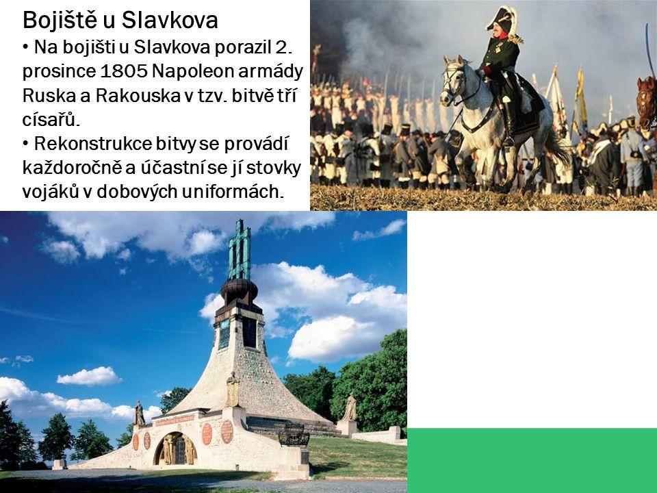 Bojiště u Slavkova Na bojišti u Slavkova porazil 2. prosince 1805 Napoleon armády Ruska a Rakouska v tzv. bitvě tří císařů. Rekonstrukce bitvy se prov