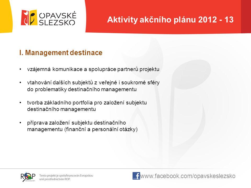 Aktivity akčního plánu 2012 - 13 I. Management destinace vzájemná komunikace a spolupráce partnerů projektu vtahování dalších subjektů z veřejné i sou