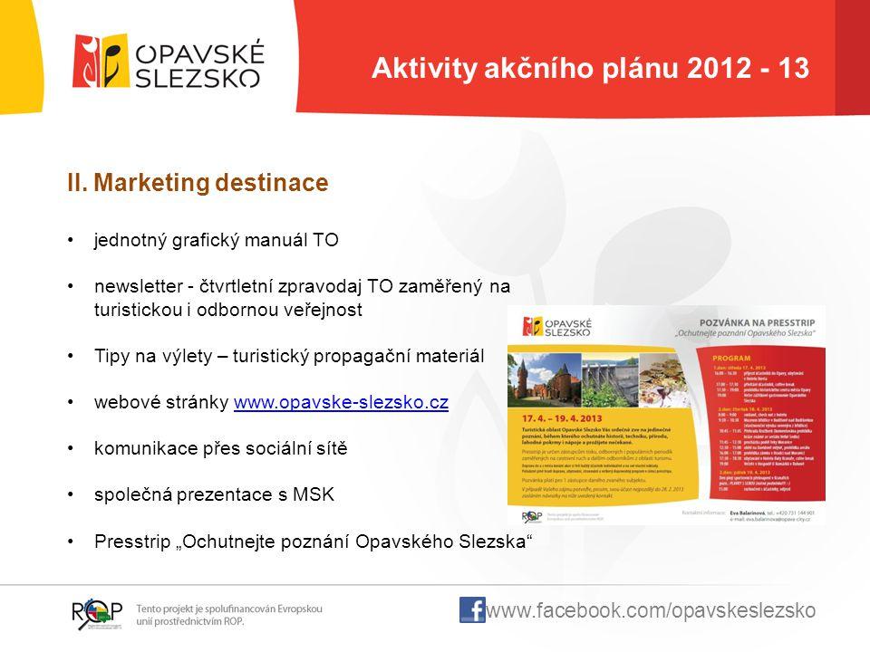 Aktivity akčního plánu 2012 - 13 II. Marketing destinace jednotný grafický manuál TO newsletter - čtvrtletní zpravodaj TO zaměřený na turistickou i od