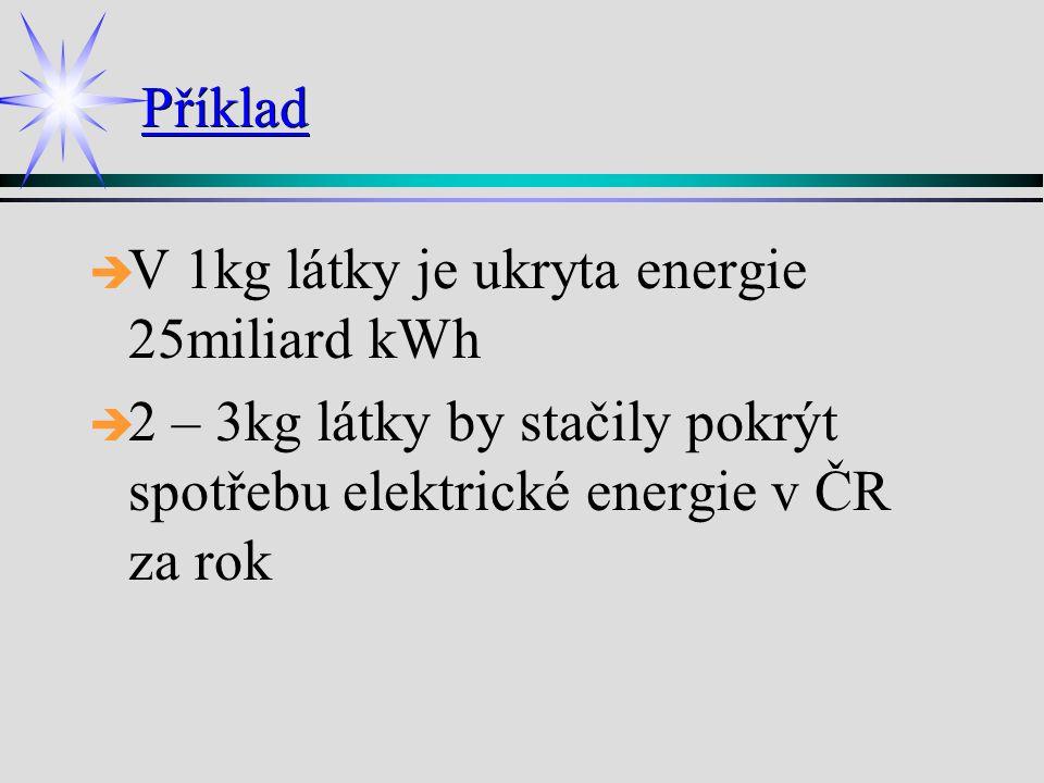Příklad è è V 1kg látky je ukryta energie 25miliard kWh è è 2 – 3kg látky by stačily pokrýt spotřebu elektrické energie v ČR za rok
