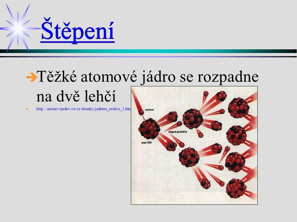Štěpení è è Těžké atomové jádro se rozpadne na dvě lehčí è è http://atomovejadro.wz.cz/stranky/jaderne_reakce_2.html