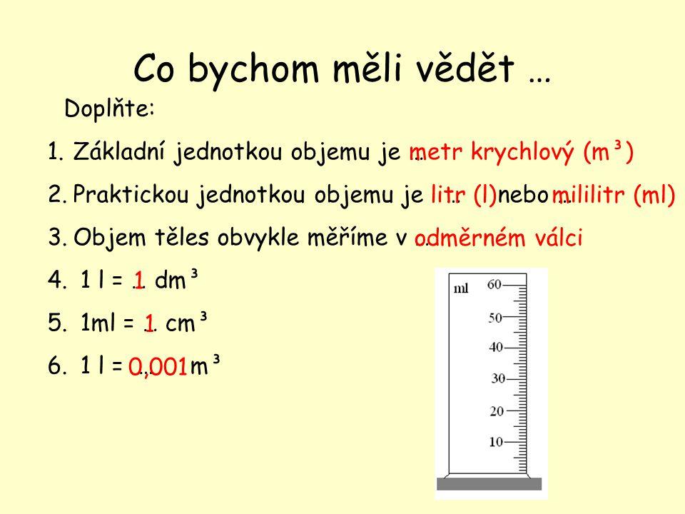 Co bychom měli vědět … 1.Základní jednotkou objemu je … 2.Praktickou jednotkou objemu je … nebo … 3.Objem těles obvykle měříme v … 4.