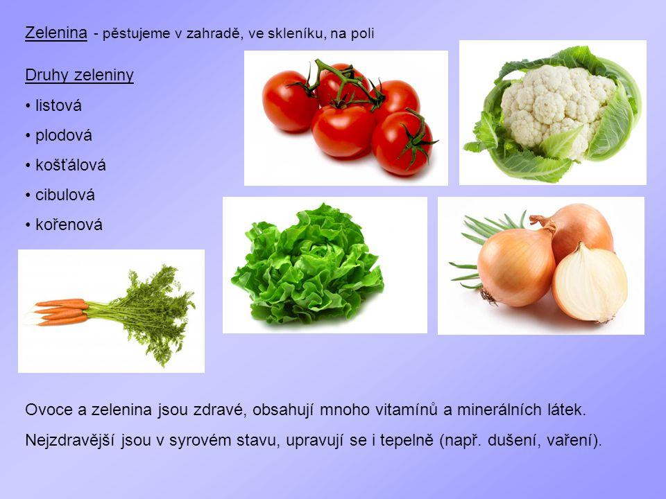 Zelenina - pěstujeme v zahradě, ve skleníku, na poli Druhy zeleniny listová plodová košťálová cibulová kořenová Ovoce a zelenina jsou zdravé, obsahují