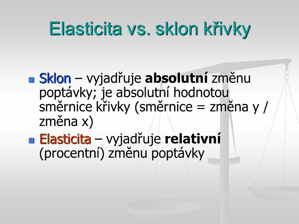 Elasticita vs. sklon křivky Sklon – vyjadřuje absolutní změnu poptávky; je absolutní hodnotou směrnice křivky (směrnice = změna y / změna x) Sklon – v