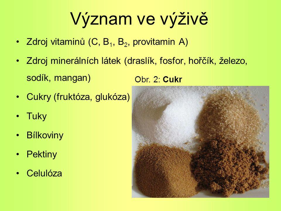 Význam ve výživě Zdroj vitaminů (C, B 1, B 2, provitamin A) Zdroj minerálních látek (draslík, fosfor, hořčík, železo, sodík, mangan) Cukry (fruktóza,